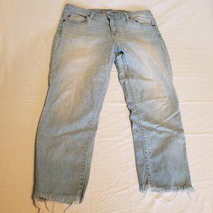 Universal Thread Raw Hem Crop Blue Jeans